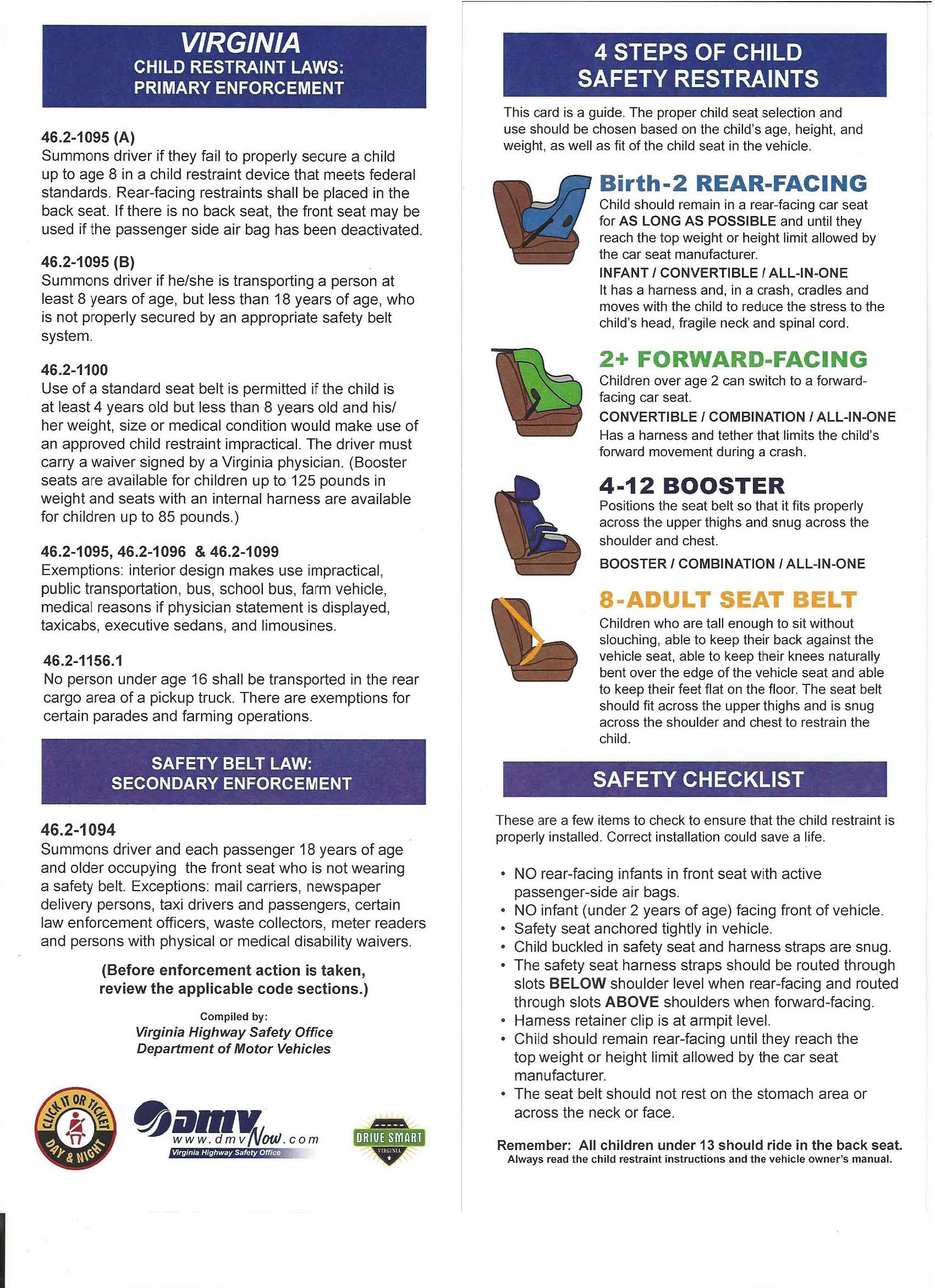 Safety Seats To Use Va Child Restraint Laws