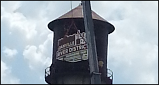 River District brand logo on water tower