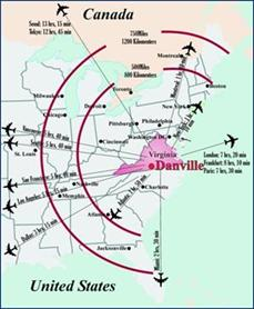 Map Depicting Flight Routes from Danville Regional Airport