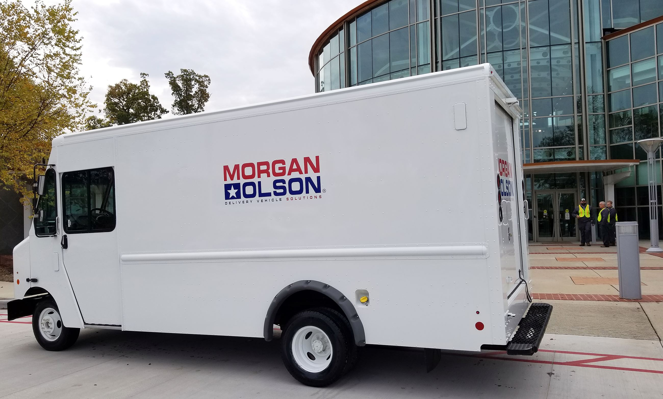 Morgan Olson delivery van parked in front of the Institute for Advanced Learning and Research