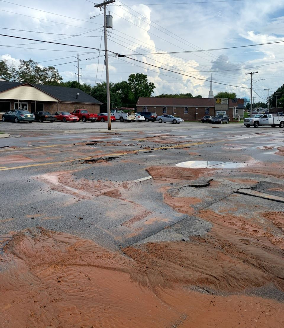 North Main Street water main break